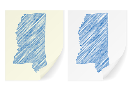 notepaper: Mississippi scribble map on a white background. Illustration