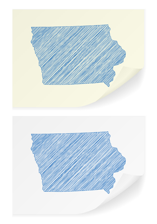 Iowa scribble map on a white background.