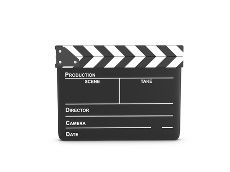 Clapper board on a white background. 3d illustration.