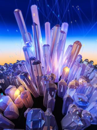 Kristallen op abstracte kleur hemel. 3D-afbeelding. Stockfoto