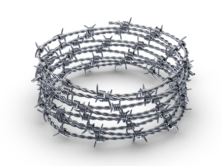 Barbed wire wreath on a white background. 3D illustration.