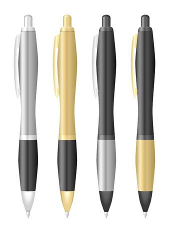 Ballpoint pen set on a white background.