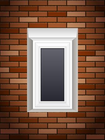 Fenêtre sur un mur de briques Banque d'images - 83821233