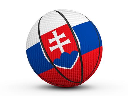 Basketball ball Slovakia flag on a white background. 3D illustration. Stock Photo