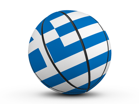 Basketball ball Greece flag on a white background. 3D illustration. Stock Photo