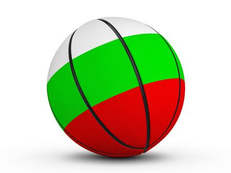 Basketball ball Bulgaria flag on a white background. 3D illustration.