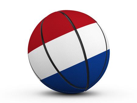 Basketball ball Netherlands flag on a white background. 3D illustration.