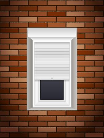 Fenêtres avec volets de maçon sur le mur de briques Banque d'images - 84668626