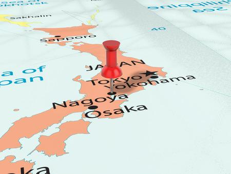 Pushpin on Nagoya map background. 3d illustration. Stock Photo
