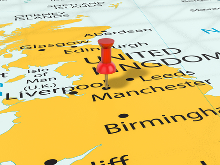 Pushpin on Manchester map background. 3d illustration.