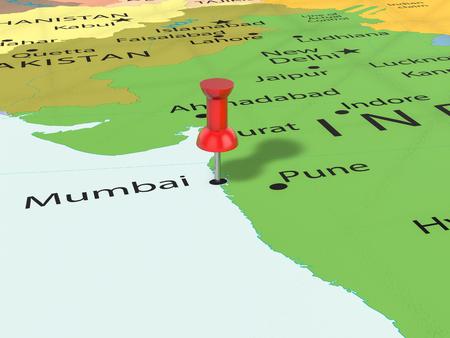 Pushpin on Mumbai map background. 3d illustration.