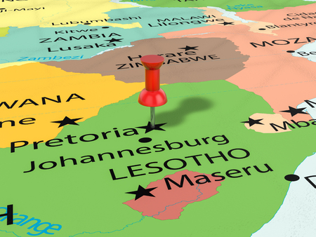 Pushpin on Pretoria map background. 3d illustration. Stock Photo