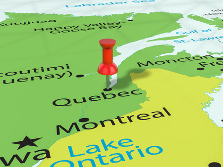 Pushpin on Quebec map background. 3d illustration. Stock fotó