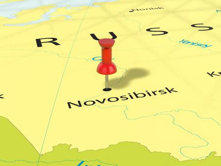Pushpin on Novosibirsk map background. 3d illustration.