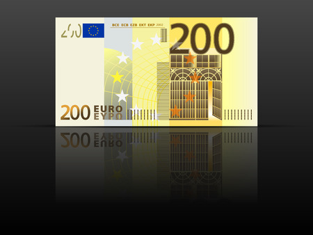 Two hundred euro banknote on a black background. 일러스트
