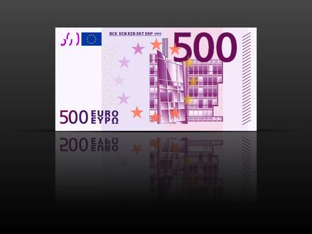 Bankbiljet van vijfhonderd euro op een zwarte achtergrond.