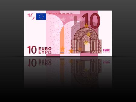 Tien euro biljet op een zwarte achtergrond.
