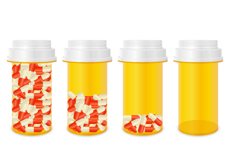 Bottle with pills set on a white background. Illustration