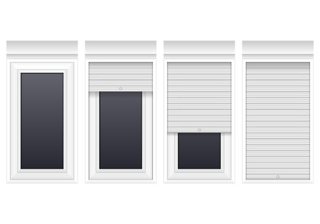 Fenêtre avec volets roulants sur un fond blanc. Banque d'images - 85499550
