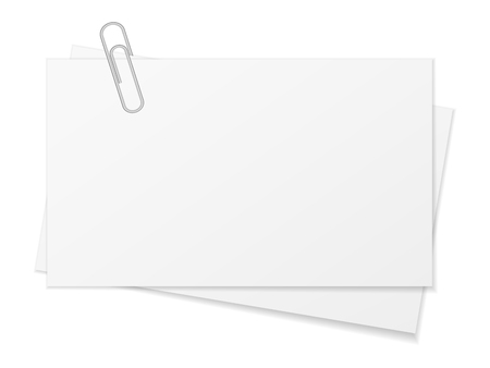 paper background: Paper sheet and paper clip on a white background. Illustration