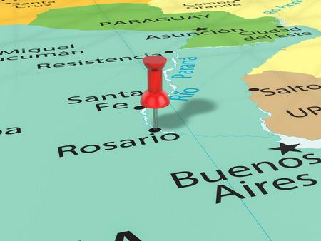 ロザリオとマップの背景のプッシュピン。3 d イラスト。 写真素材