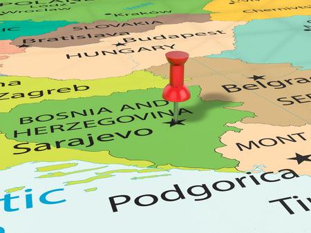 Pushpin on Sarajevo map background. 3d illustration. Stock Photo