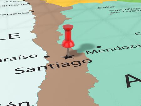 Pushpin on Santiago map background. 3d illustration.