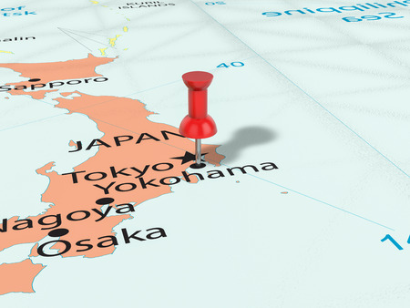 Pushpin on Yokohama map background. 3d illustration.