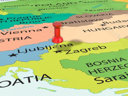 Pushpin on Zagreb map background. 3d illustration.