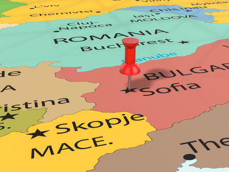 Pushpin on Sofia map background. 3d illustration. Stock Photo