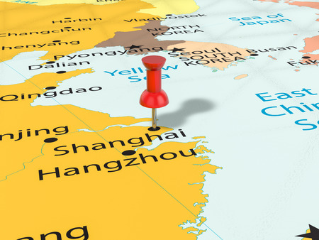 Pushpin on Shanghai map background. 3d illustration.
