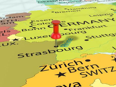 Pushpin on Strasbourg map background. 3d illustration.