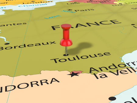 Pushpin on Toulouse map background. 3d illustration.