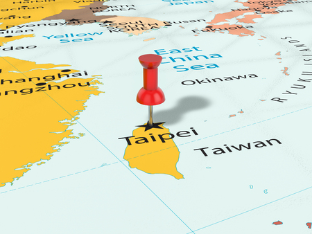 Pushpin on Taipei map background. 3d illustration.