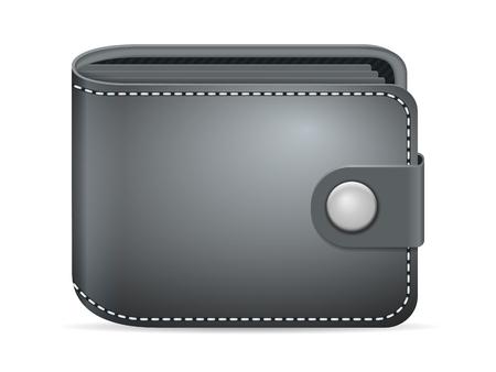 Lederen portemonnee op een witte achtergrond. Stock Illustratie