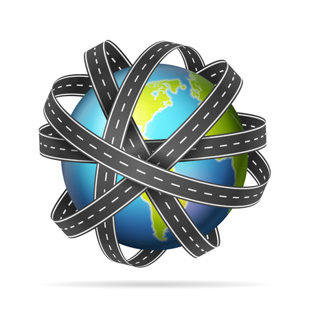 World globe with roads on a white background.