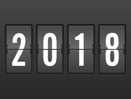 Arrivi 2018 anni flip clock. Illustrazione vettoriale Archivio Fotografico - 89056482
