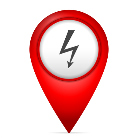 Map marker with voltage symbol on a white background. Illustration