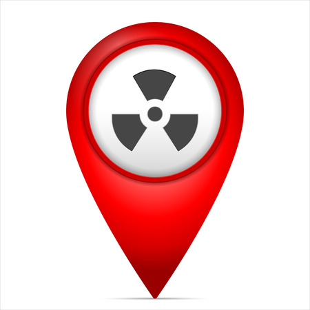 radioactive symbol: Map marker with radiation symbol on a white background.