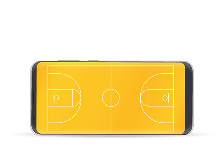 Smart phone basketball court on a white background.