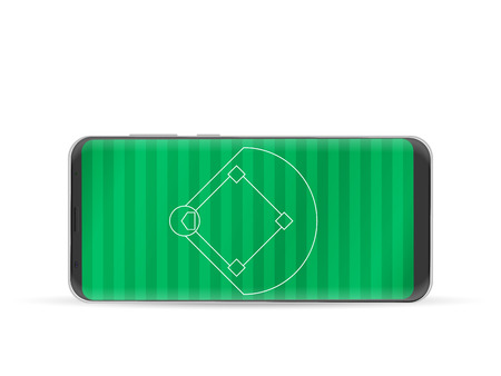 Smart phone baseball field on a white background.