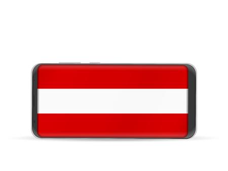 Téléphone portable avec le drapeau national de l & # 39 ; autriche sur un fond blanc Banque d'images - 91742175