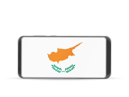 Mobile phone with National flag of Cyprus on a white background.