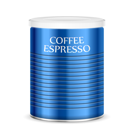 Coffee canister on a white background.