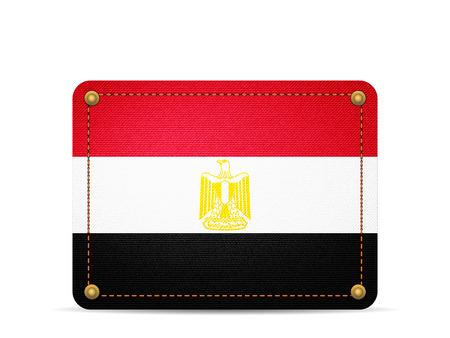 Denim Egypt flag on a white background.