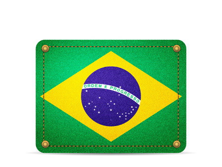 Denim Brazil flag on a white background.