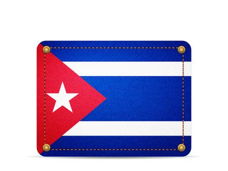 Denim Cuba flag on a white background.