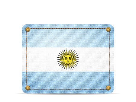 Denim Argentina flag on a white background.