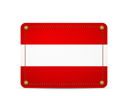 Denim Austria flag on a white background.