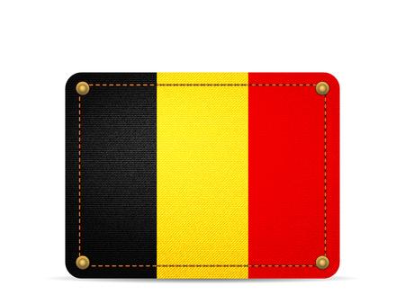 Denim Belgium flag on a white background. 向量圖像